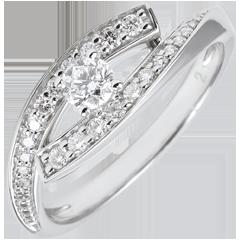 Anillo Solitario Destino - Diva - pequeño modelo - oro blanco 9 quilates - diamante 0. 08 quilates