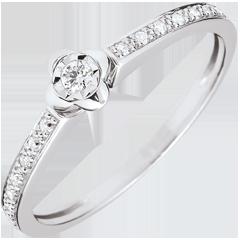 Anillo Solitario Eclosión - Peonia - oro blanco 18 quilates y diamante 0. 03 quilates