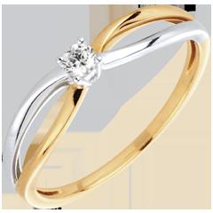 Anillo Solitario Ella - oro amarillo y oro blanco 18 quilates y diamante