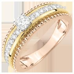 Anillo Solitario - Flor de Sal - dos aros - 3 oros 9 quilates - diamantes 0.378 quilates