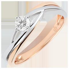 Anillo solitario Nido Precioso - Dova - oro blanco y oro rosa de 18 quilates - diamante de 0.15 quilates