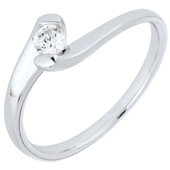 Anillo solitario Nido Precioso - Pasión Eterna - oro blanco 18 quilates - diamante 0.14 quilates