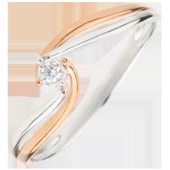 Anillo Solitario Nido Precioso - Preciosa - oro blanco y oro rosa 18 quilates - diamante 0.03 quilates