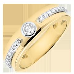 Anillo Solitario Promesa - oro amarillo 18 quilates y diamantes