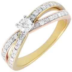 Anillo Solitario Saturno Dúo doble diamante - Tres oros 9 quilates - diamante 0.15 quilates