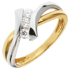 Anillo trilogía Nido Precioso - Dolce Vita - oro amarillo y blanco 18 quilates - 3 diamantes 0.22 quilates