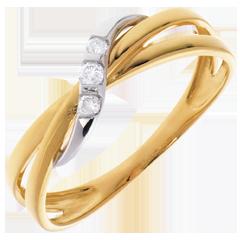 Anillo Triología Aros - oro amarillo y oro blanco 18 quilates - 3 diamantes