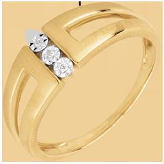 Anillo Triología Selmi - oro amarillo 18 quilates y diamantes