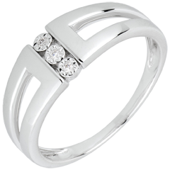 Anillo Triología Selmi - oro blanco 18 quilatees y diamantes