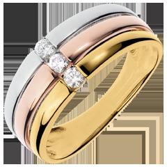 Anillo Triología Trinidad - 3 oros - oro blanco, amarillo y rosa 18 quilates - 3 diamantes