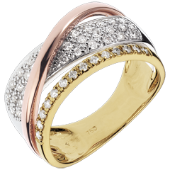 Anillo triple Real Saturno - 3 oros 18 quilates