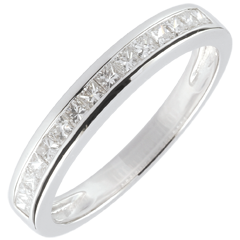 Anneau Diamants Princesse sertis rail - 0.36 carats - or blanc 9 carats