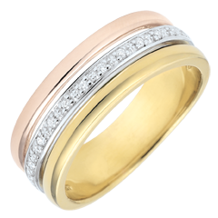 Anneau Egeria - Dreierlei Gold und Diamanten - 18 Karat