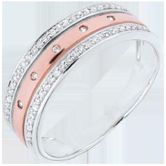 Anneau Féérie - Couronne d'Étoiles - grand modèle - or blanc et or rose 9 carats