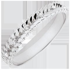 Anneau Jardin Enchanté - Tresse Diamant - or blanc 9 carats