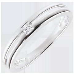 Anneau Princesse étoile - or blanc 9 carats