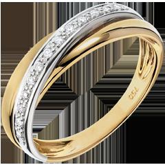 Anneau Saturne Diamant - or blanc et or jaune 9 carats
