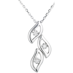 AP1517 - White Gold and Diamond Flame Necklace