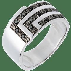 الذهب الأبيض والماس الأسود الدائري المربع AP3213 خاتم