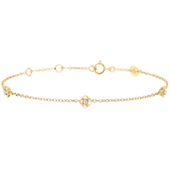 Armband Blüte - Rosenkränzchen - Diamant - Gelbgold, Weißgold - 9 Karat