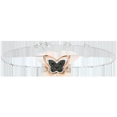 Armband Denkbeeldige Balade - Maanvlinder - roze goud en zwarte diamanten - 9 karaat