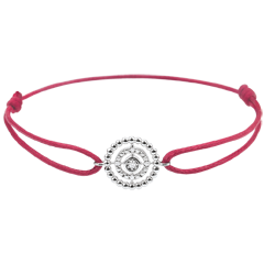 Armband Fleur de Sel - Cirkel - 9 karaat witgoud - roode snoer