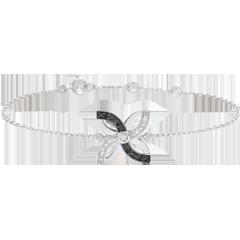 Armband Frische - Sommerlilie - Weißgold und schwarze Diamanten