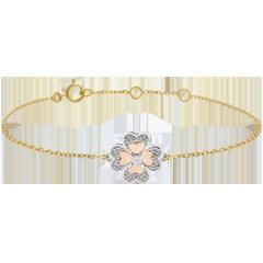 Armband Frisheid - Solitair - 3 goudkleuren en diamanten - Fonkelende Klaver