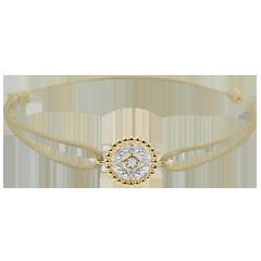 Armband Gezouten Bloem - Cirkel - geel goud - beige snoer