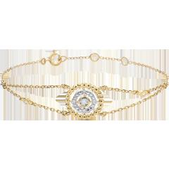 Armband Gezouten Bloem - Cirkel - geel goud en diamanten