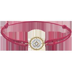 Armband Gezouten Bloem - Cirkel - geel goud - rood snoer