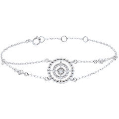 Armband Gezouten Bloem - Cirkel - wit goud en diamanten