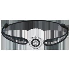 Armband Gezouten Bloem - Cirkel - wit goud en zwarte diamanten - zwart snoer
