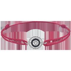 Armband Gezouten Bloem - Cirkel - wit goud en zwarte diamanten - rood snoer