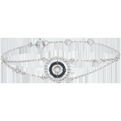Armband Gezouten Bloem - Cirkel - wit goud en zwarte diamanten