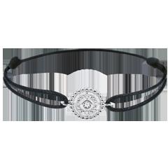 Armband Gezouten Bloem - Cirkel - wit goud - zwart snoer