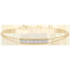 Armband Gezouten Bloem - twee ringen - geel goud - 9 karaat