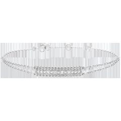 Armband Gezouten Bloem - twee ringen - wit goud - 18 karaat