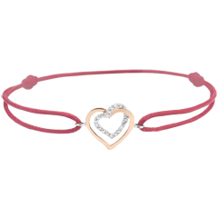 Armband Herzen, besetzt mit Rotgold, Weissgold und Diamanten - Rote Kette