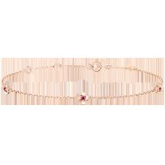 Armband Ontluiken - Kroon van rozen - robijn - roze goud 9 karaat