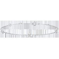 Armband Ontluiking - Kroon van rozen - Diamanten - 9 karaat witgoud