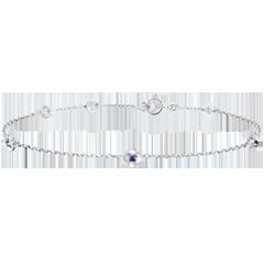 Armband Ontluiking - Kroon van rozen - Saffier - 18 karaat witgoud