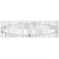 Armband Ontluiking - Kroon van rozen - smaragd - 9 karaat witgoud