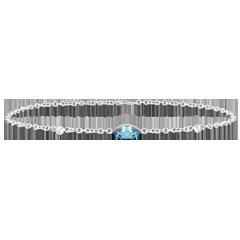 Armband Oriëntale Uitstraling - groot model - Blauwe Topaas en Diamanten - 9 karaat witgoud