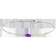 Armband Regard d'Orient - groot model - amethist en diamanten - wit goud 9 karaat