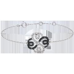 Armband Solitär Frische - Weißgold, schwarze und weiße Diamanten - Verspielter Klee