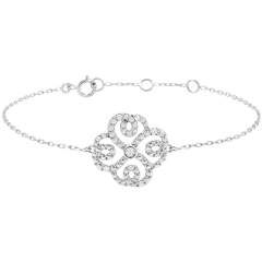 Armband Solitär Frische - Weißgold und Diamanten -Verspielter Klee