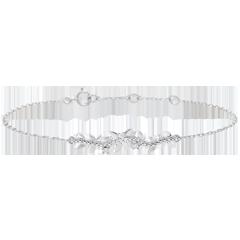 Armband Verzauberter Garten - Königliches Blattwerk - Weißgold und Diamanten - 18 Karat