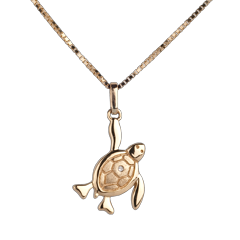 Baby turtle - large - yellow gold - 9 carat