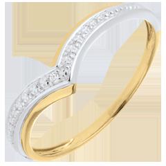 Bague Ailes précieuses - or blanc et or jaune 9 carats